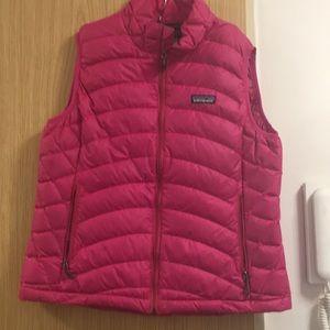 Patagonia women's hot pink down vest in medium